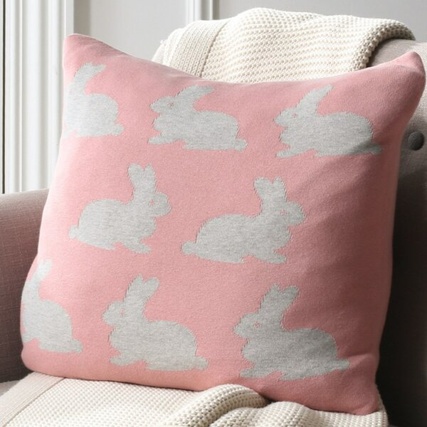 Dannielle Bunny Hop Knit 100% Cotton Throw Pillow by Harriet Bee